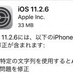 またまたアップデート(苦笑)『iOS11.2.6』配信開始!特定文字列クラッシュ問題など修正